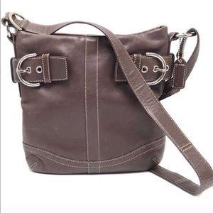 COACH Leather Crossbody Hobo Bag Dark Brown